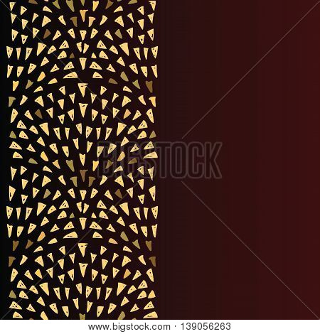 Background with triangular golden fountains. Abstract design hand drawn triangle gold doodle drops elements. Vertical seamless pattern. Copy space. Vector illustration.