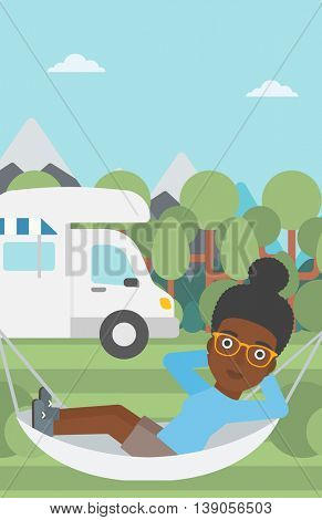 An african-american woman lying in hammock in front of motor home in the forest. Woman resting in hammock and enjoying vacation in camper van. Vector flat design illustration. Vertical layout.