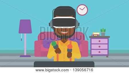 An african-american man wearing virtual reality headset and holding motion controllers in hands. Man playing video games in apartment. Vector flat design illustration. Horizontal layout.