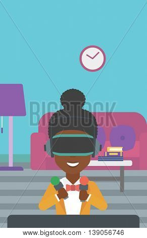 An african-american woman wearing a virtual reality headset and holding motion controllers in hands. Woman playing video games in apartment. Vector flat design illustration. Vertical layout.