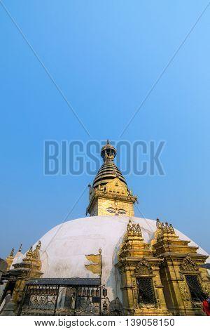Swayambhunath Buddhist stupa in Kathmandu, Nepal