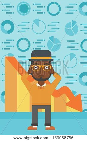 An african-american bankrupt clutching his head. Bankrupt with a big question mark above head. Concept of business bankruptcy. Vector flat design illustration. Vertical layout.