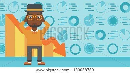 An african-american bankrupt clutching his head. Bankrupt with a big question mark above head. Concept of business bankruptcy. Vector flat design illustration. Horizontal layout.
