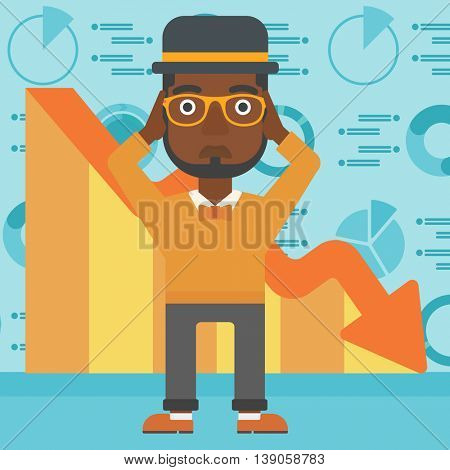 An african-american bankrupt clutching his head. Bankrupt with a big question mark above head. Concept of business bankruptcy. Vector flat design illustration. Square layout.