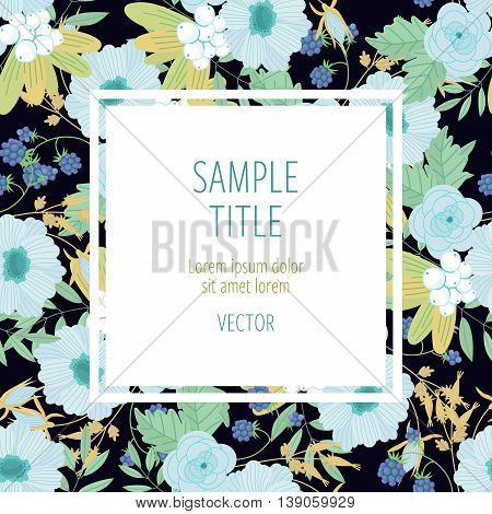 Flower invintation template. Greeting card. Flowers invitation design template to celebration with flower decoration vector illustration. Vintage flowers in modern style. Flowers card for romantic and wedding design. Flowers background. Card with flowers.