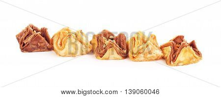 oriental sweets baklava, isolated on white background