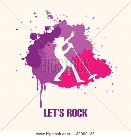 Silhouette musician singer on bright background vector illustration