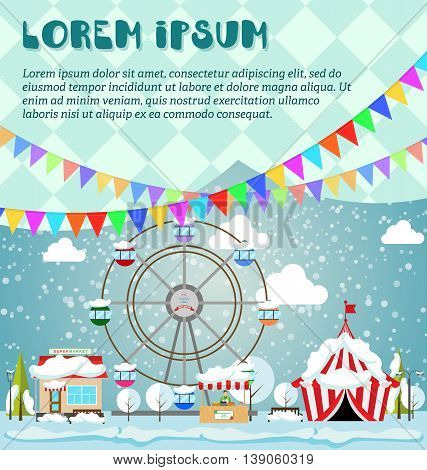 Invitation card Merry Christmas and Happy New Year on amusement park winter market festival fair. Vector illustration in flat style. Supermarket circus and ferris wheel under the snow