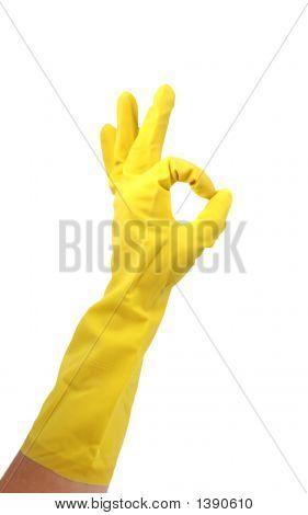 Latex Glove Making Ok Sign