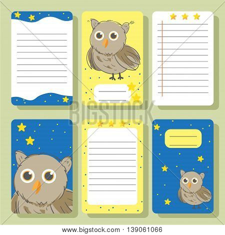 Cute owl sketch with stars cards. Cute vector illustration for postcards posters notes to do list Journals Card.
