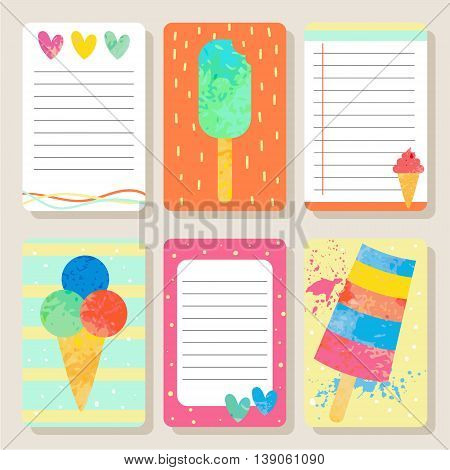 Cartoon textured ice cream cards. Cute vector illustration for postcards posters notes to do list Journals Card.