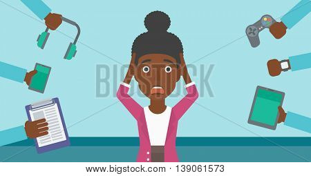 An african-american woman in despair and many hands with gadgets around her. Woman surrounded with gadgets. Woman using many electronic gadgets. Vector flat design illustration. Horizontal layout.