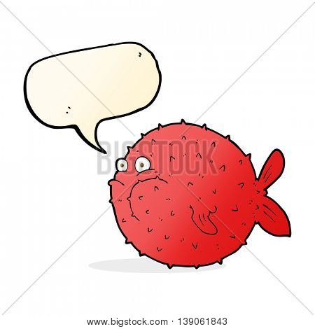 cartoon puffer fish with speech bubble