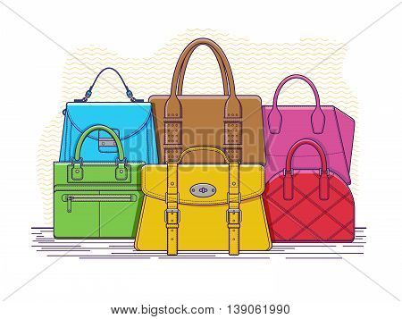 Set of bags. Fashion handbag accessory, leather bag with handle, vector illustration
