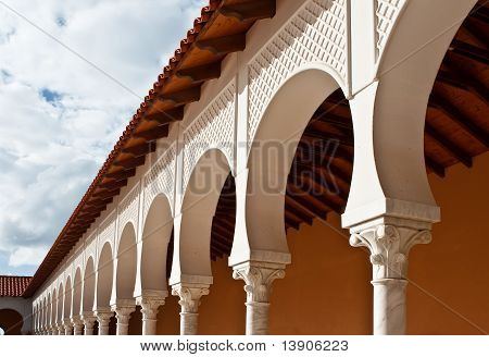 Pattern Of Covered Arcade In Spanish Style.