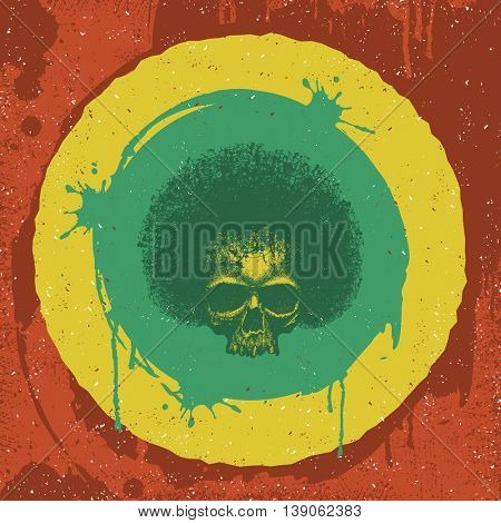 Skull reggae graphic design. Jpeg version.