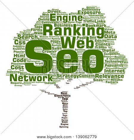 Vector concept conceptual search engine optimization, seo abstract tree word cloud isolated on background metaphor to marketing, web, internet, strategy, online, rank, result, network, top, relevance