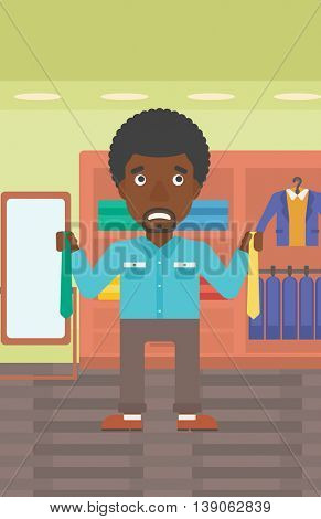An african-american man holding two neckties and trying to choose the best one. Customer choosing necktie at clothing store. Vector flat design illustration. Vertical layout.