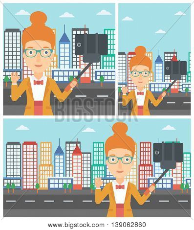 Smiling woman making selfie with a selfie-stick. Young woman taking photo with cellphone and waving on a city background. Vector flat design illustration. Square, horizontal, vertical layouts.