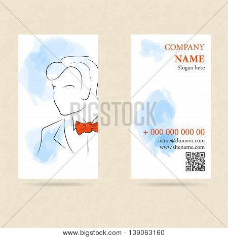 Vector template two side vertical business card man in orange bow tie