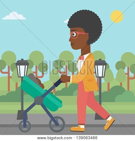 An african-american young mother walking with baby stroller in the park. Mother walking with her baby in stroller. Mother pushing baby stroller. Vector flat design illustration. Square layout.