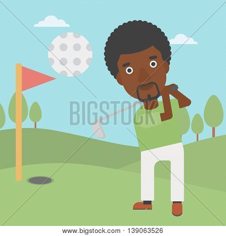 An african-american golfer with the beard hitting the ball. Professional golfer on golf course. Young man playing golf. Vector flat design illustration. Square layout.