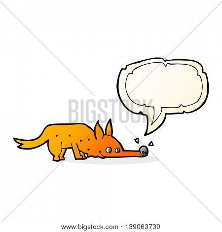 cartoon fox sniffing floor with speech bubble