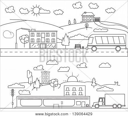 Thin line schematic city vector illustration black and white