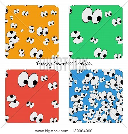Set of four seamless funny eyes patterns with different colored backgrounds