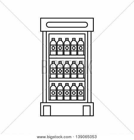 Fridge with refreshments drinks icon in outline style isolated vector illustration