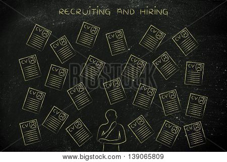 Doubtful Recruiter Surrounded By Lots Of Resumes