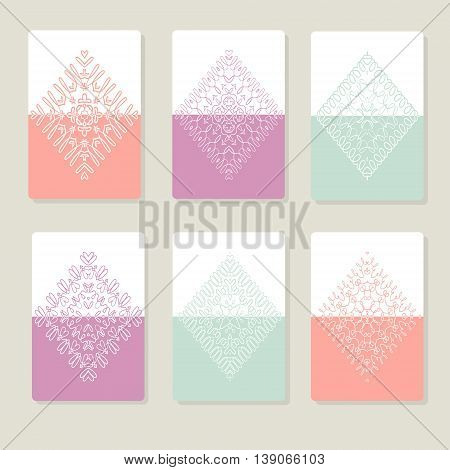 Set with lace pattern in the rhombic shape. Templates with delicate patterns for your design. Vector illustration.