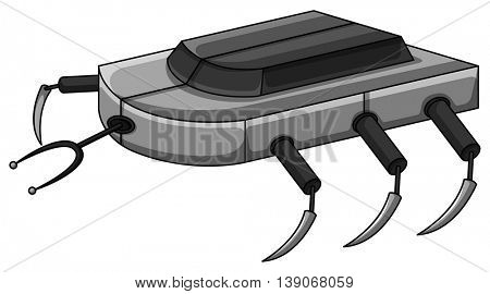Robot machine with many legs illustration