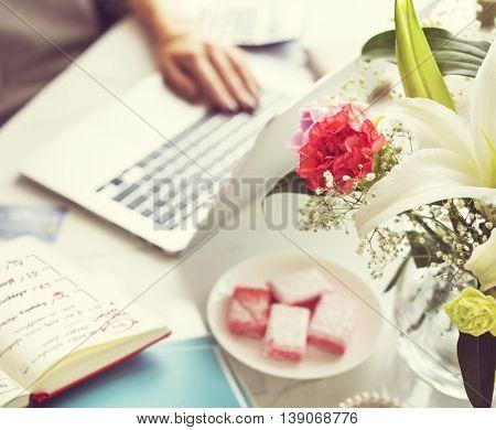 Woman Working Workspace Using Laptop Desk Concept