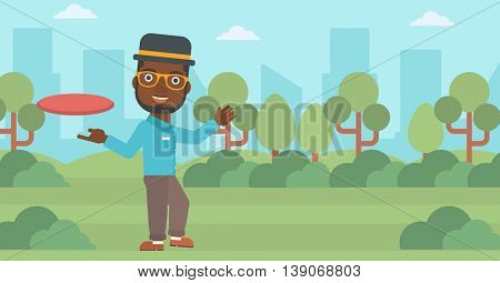 An african-american man playing flying disc in the park. Man throwing a flying disc. Sportsman catching flying disc outdoors. Vector flat design illustration. Horizontal layout.
