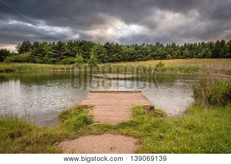 Pond Dipping Platform in East Cramlington Local Nature Reserve, Northumberland, providing free and easy access to nature