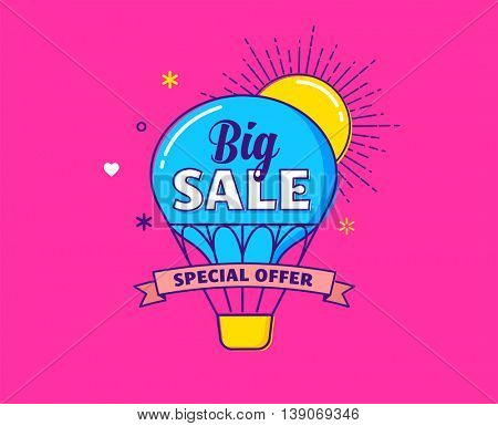 Big sale - modern colorful banner with hot air balloon, sun and ribbon