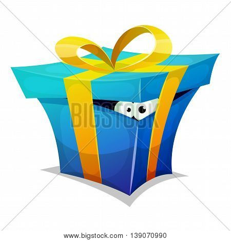 Illustration of a cartoon funny gift box for birthday and anniversary present with funny eyes looking from inside