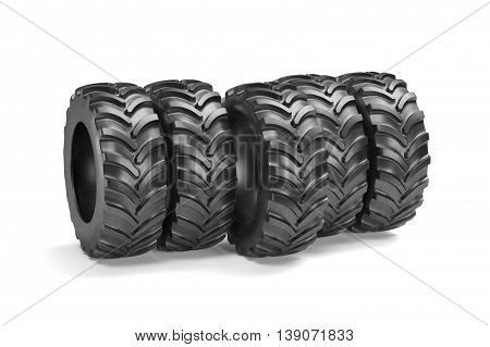 Tractor Tyres Isolated On White Background