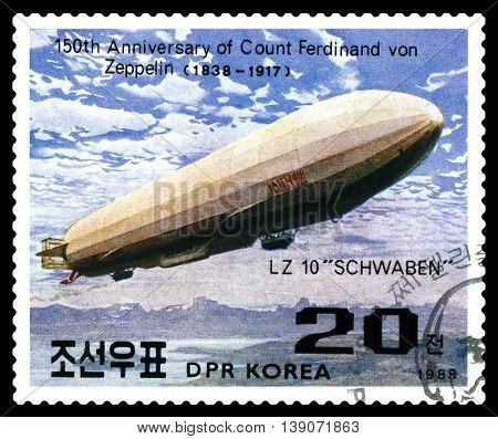 STAVROPOL RUSSIA - JULY 19 2016: a stamp printed in DPR Korea shows Airship LZ-10 Schwaben Ferdinand Von Zeppelin series cirka 1988