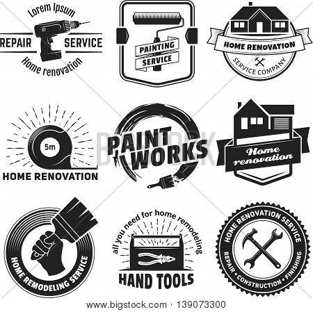 House remodeling logos. Vector badges for home renovation services. Set of vintage labels with hand tools and equipment.