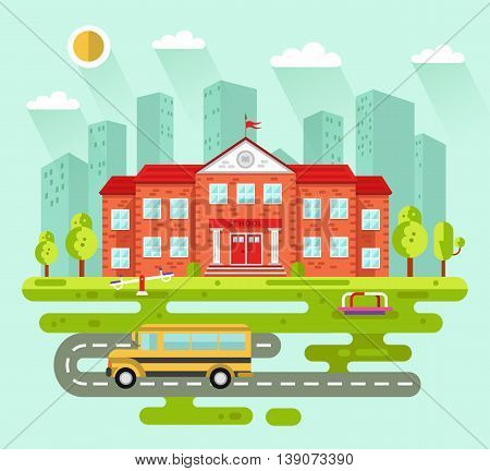 Vector flat style illustration of City landscape with school building. Including bus, kids playground, road, sun, clouds, trees. Education concept. The Knowledge day.
