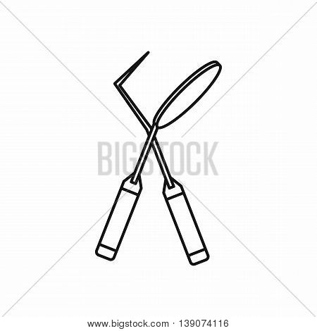 Tooth instruments for dental medicine icon in outline style isolated vector illustration