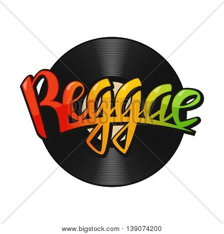 Reggae vinyl disc label. Vector reggae lettering. Rastafarian colors background