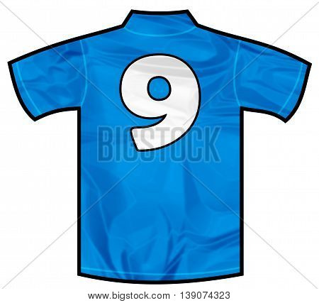 Number 9 nine Blue sport shirt as a soccer, hockey, basket, rugby, baseball, volley or football team t-shirt. Like Italy or France national team