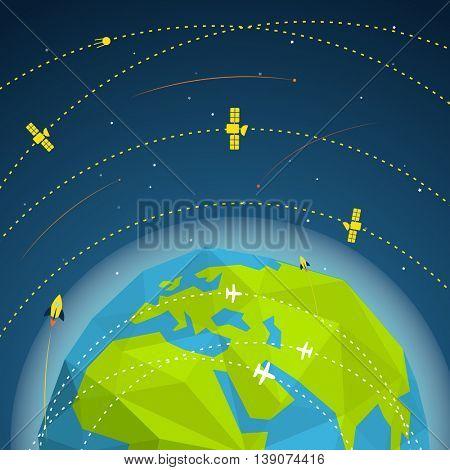 Abstract global modern flying sattelites