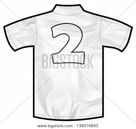 Number 2 two white sport shirt as a soccer, hockey, basket, rugby, baseball, volley or football team t-shirt. Like German or England or USA national team