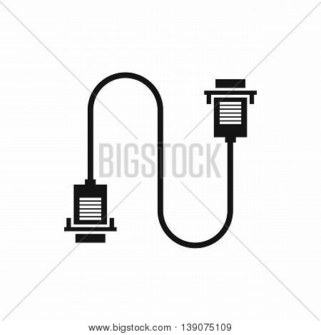 Cable wire computer icon in simple style isolated vector illustration