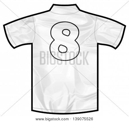 Number 8 eight white sport shirt as a soccer, hockey, basket, rugby, baseball, volley or football team t-shirt. Like German or England or USA national team