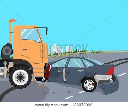 The driver did not have time to slow down and the car crashed into a truck. Vector illustration